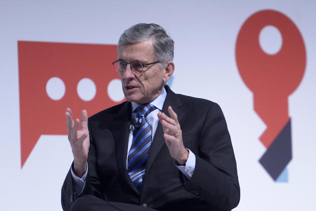 Tom Wheeler, Chairman of the Federal Communications Commission and GSMA speaks on the impact of recent telecommunications regulation in the United States at the Mobile World Congress Wireless show, th