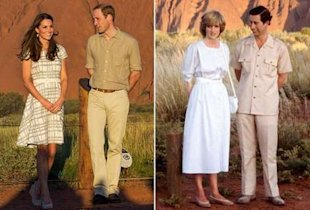 Kate Middleton and Prince William in 2014, Princess Diana and Prince Charles in 1983
