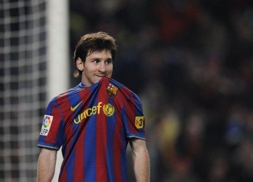 Lionel Messi pictured during a La Liga match at the Camp Nou in Barcelona on November 29, 2009