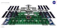 The International Space Station's length and width is about the size of a football field.