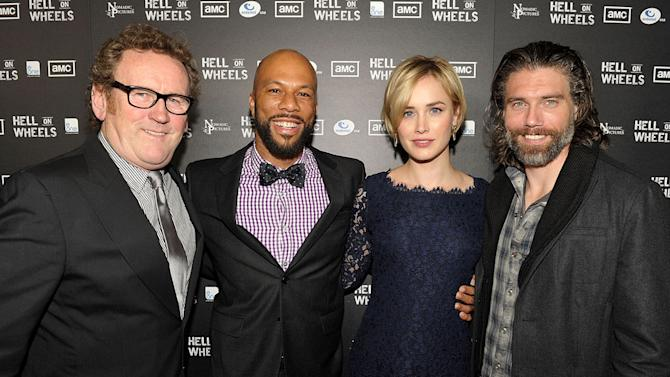 """Colm Meaney, Common, Dominique McElligott, and Anson Mount arrive at the premiere of AMC's """"Hell on Wheels"""" at LA Live on October 27, 2011 in Los Angeles, California."""