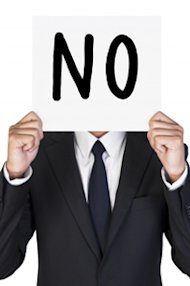 How to Handle Rejection From Journalists When Doing PR image no sign held by business man1 in PR campaign