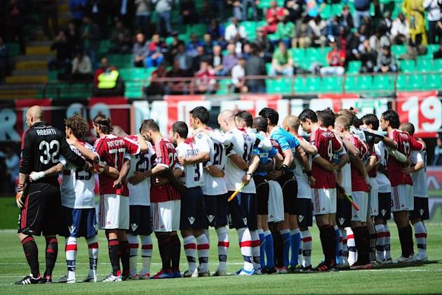 AC Milan's  And Bologna Players Pay Tribute To Piermario Morosini, The Italian Football Player Who Died Last Saturday AFP/Getty Images