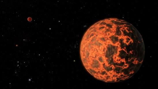 An artist's illustration of the alien planet UCF 1.01, a potential exoplanet 33 light-years from Earth that may be covered in lava.