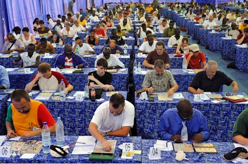 Players in action at the French world scrabble championships in Dakar in 2008