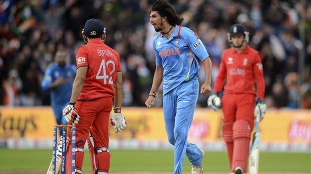India's Ishant Sharma yells at England's Ravi Bopara (L) after he dismissed him during the ICC Champions Trophy final cricket match at Edgbaston