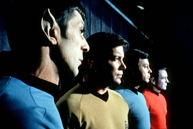 "FILE- This undated file photo shows actors in the TV series ""Star Trek,"" from left, Leonard Nimoy as Commander Spock, William Shatner as Captain Kirk, DeForest Kelley as Doctor McCoy and Jam"