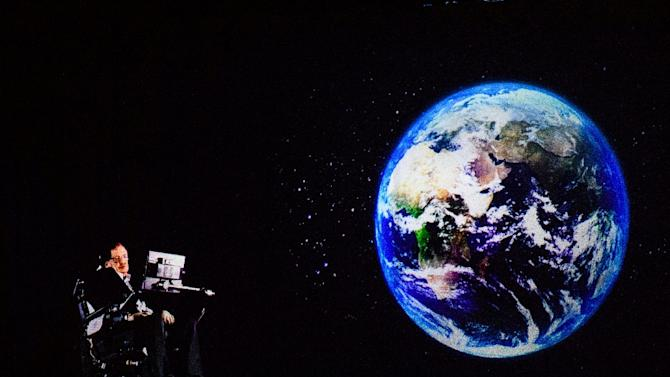 Renowned physicist Stephen Hawking, 75, appears via hologram to address an audience in Hong Kong