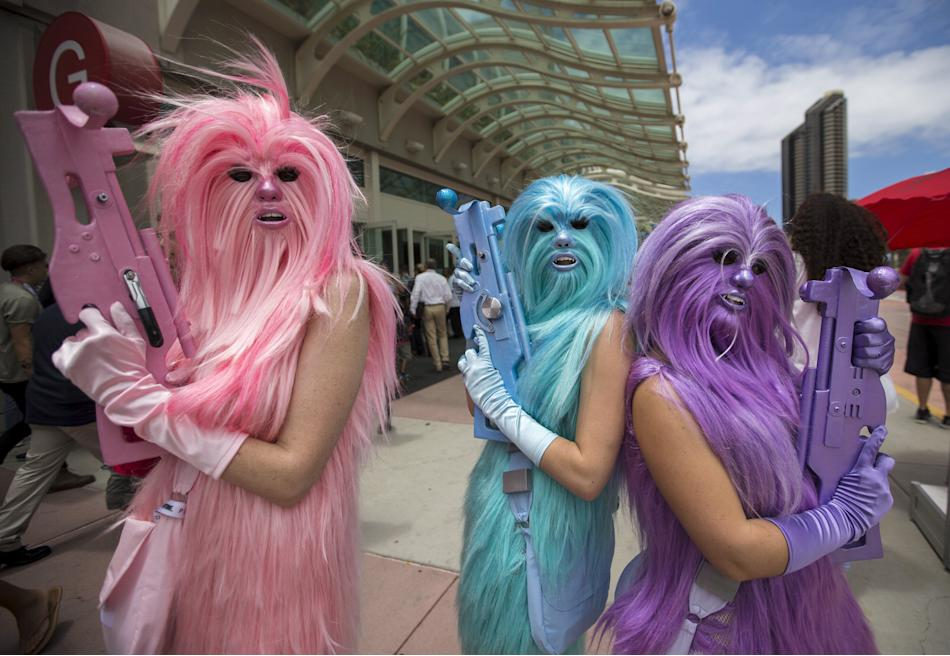 Star Wars enthusiasts wear costumes resembling what they say are three
