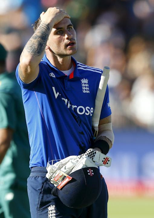 England's Alex Hales leaves the field after being dismissed on 99 during the second One Day International cricket match against South Africa in Port Elizabeth
