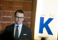 Prince Daniel of Sweden announces the birth of his first child to the press at the Karolinska University Hospital in Stockholm, Thursday, Feb. 23, 2012. Sweden's Crown Princess Victoria gave birth to her first child early Thursday, a baby girl that is second in line to the throne, her husband, Prince Daniel, said. (AP Photo/JPontus Lundahl) SWEDEN OUT