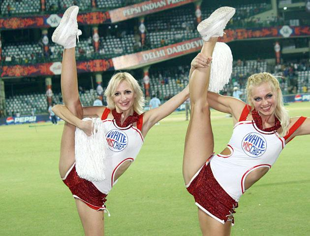 Cheerleaders during the match between Delhi Daredevils and Rajasthan Royals at Feroz Shah Kotla stadium in New Delhi on April 6, 2013. (Photo: IANS)