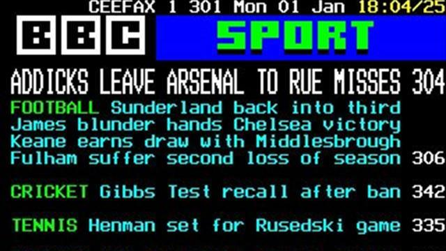 Football - Farewell to Ceefax, the first 24 hour sports news channel
