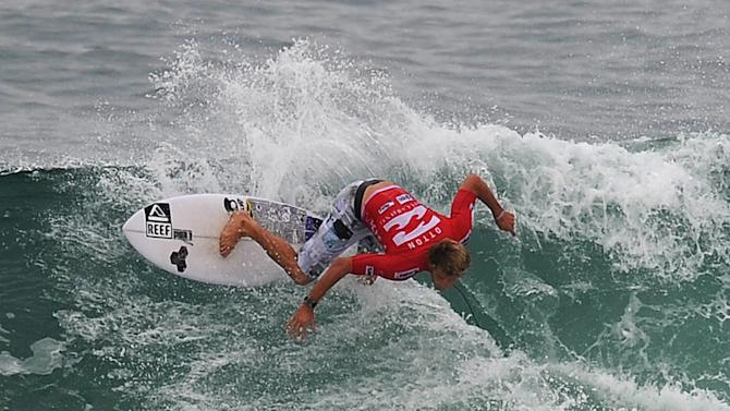 Australian surfer Kai Otton competes in the Association of Surfing Professionals' men's 2012 ASP World Championship Tour at Barra da Tijuca beach in Rio de Janeiro, Brazil, on May 14, 2012.  AFP PHOTO/VANDERLEI ALMEIDAVANDERLEI ALMEIDA/AFP/GettyImages