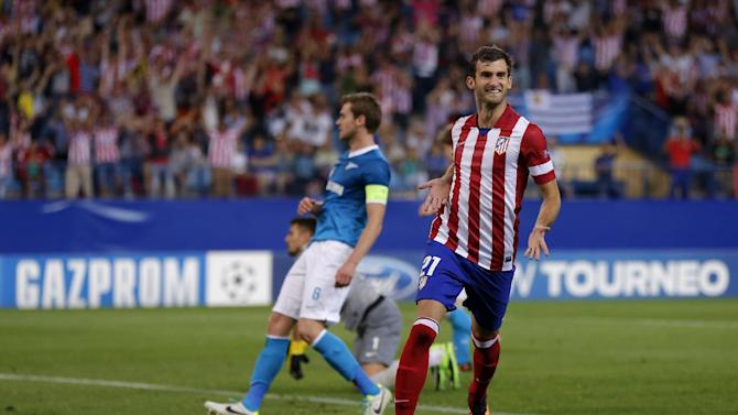 Atletico Madrid's Leonardo Baptistao from Brazil celebrates after scoring a goal during a Group G Champions League soccer match against Zenit St. Petersburg at the Vicente Calderon stadium in in Madrid, Spain, Wednesday, Sept. 18, 2013
