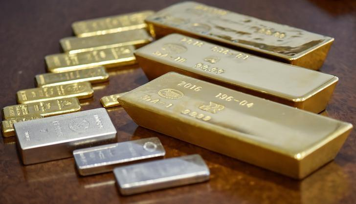 Gold and silver bars are seen at the Kazakhstan's National Bank vault in Almaty