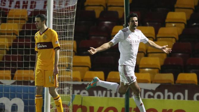 Rory Fallon, right, scored the opener as Aberdeen ran out 2-1 winners