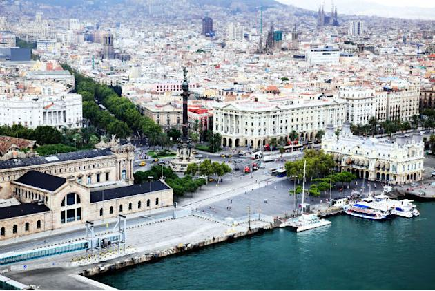 An aerial view of Barcelona City