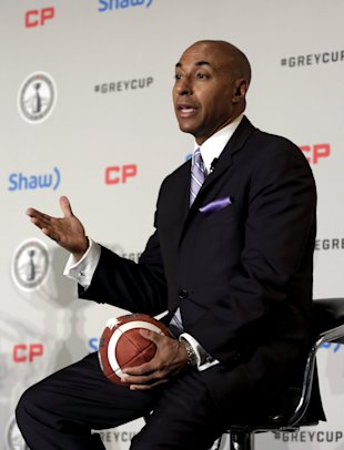 Canadian Football League Commissioner Jeffrey Orridge speaks at a news conference ahead of the CFL 103rd Grey Cup championship football game in Winnip...