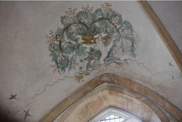 A view of a crack in a 13th-century church in Middelstum