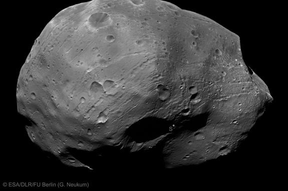 Mars' largest moon Phobos, as seen during a recent flyby performed by the European spacecraft Mars Express.