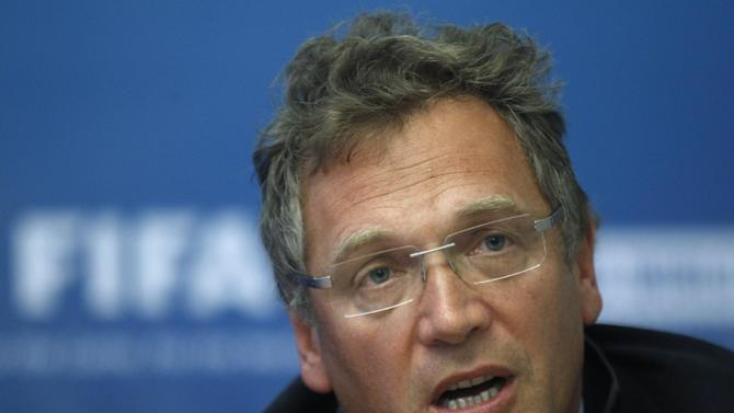 In this Tuesday, Oct. 11, 2011 file photo, FIFA General Secretary Jerome Valcke speaks during a news conference on Russia's preparations for the 2018 FIFA World Cup in Moscow, Russia. Valcke says the 2022 World Cup in Qatar will not be held in June or July because of the Gulf country's summer heat