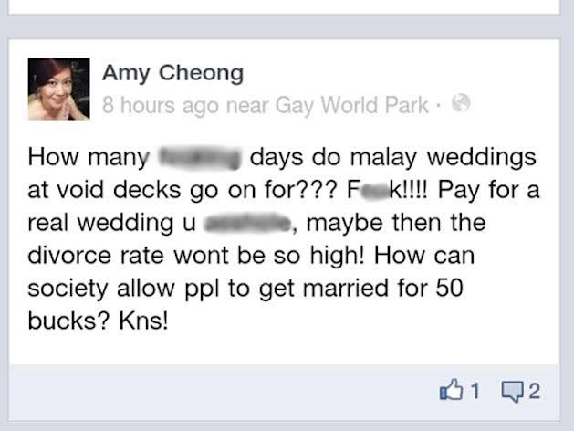 The Facebook post by NTUC membership assistant director Amy Cheong, a screencap of which went viral over the weekend. (Screencap: Facebook)
