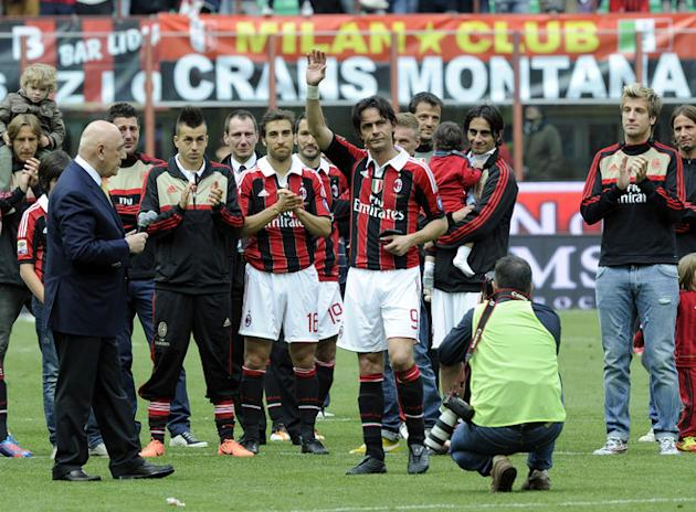 Filippo Inzaghi Of AC Milan Salutes Getty Images
