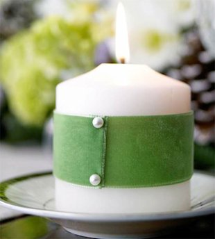 Green Ribbon Wrapped Candle