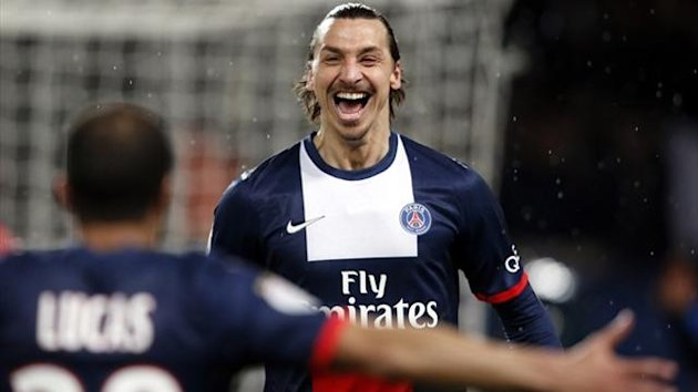 Paris St Germain's Zlatan Ibrahimovic celebrates after opening the scoring against Bordeaux (Reuters)