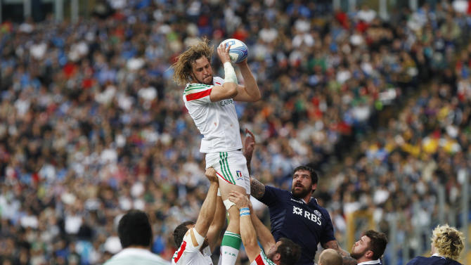 Italy's Jashua Furno catches the ball during a Six Nations rugby union international match between Italy and Scotland, in Rome, Saturday, Feb. 22, 2014. (AP Photo/Andrew Medichini)