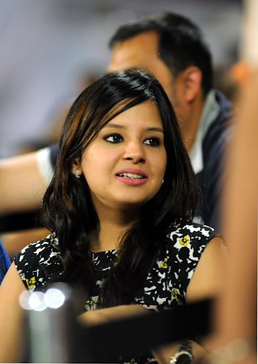 Chennai Super King captain MS Dhoni's wife Sakshi during their match against the Delhi Daredevils held at the Feroz Shah Kotla Stadium, Delhi on the 18th April 2013. Photo by Arjun Panwar-IPL-SPOR