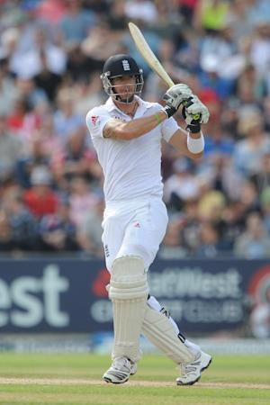 Kevin Pietersen reached 68no at tea as he helped England overcome the loss of two early wickets