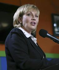 FILE - In this Tuesday, Jan. 17, 2017 file photo, Republican New Jersey Lt. Gov. Kim Guadagno addresses a gathering of supporters as she announces her candidacy for governor, in Keansburg, N.J. Governor's races this year in Virginia and New Jersey are unfolding in ways strikingly similar to the turbulent 2016 presidential campaign. Both races are wide open, with Republican Gov. Chris Christie in New Jersey and Democratic Gov. Terry McAuliffe in Virginia leaving office because of term limits. (AP Photo/Mel Evans, File)