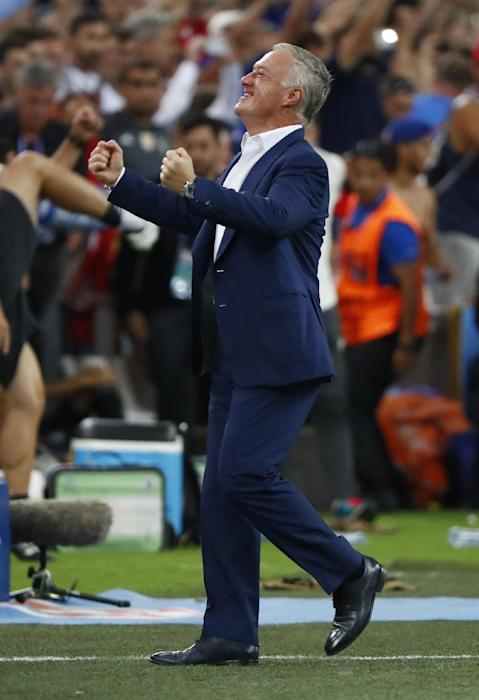 France Head Coach Didier Deschamps celebrates at the end of the game