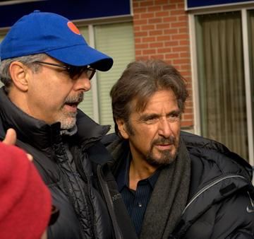 Director Jon Avnet and Al Pacino on the set of Sony Pictures' 88 Minutes