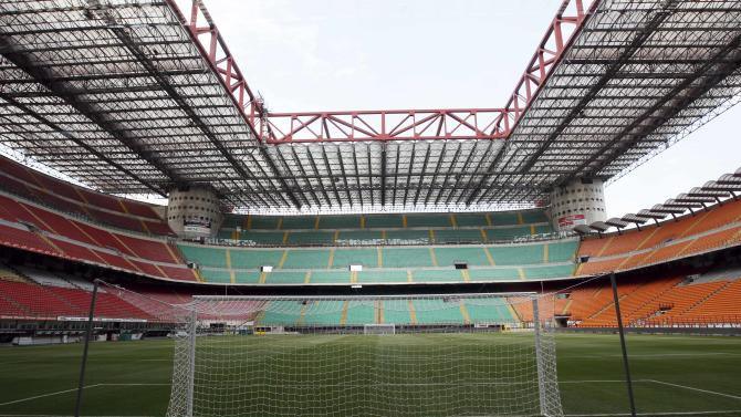 A view of an empty San Siro stadium in Milan, Friday, Aug.26, 2011. The start of the Serie A soccer season on Saturday will be delayed by a players' strike, Italian players association president Damiano Tommasi announced on Friday. All 20 Serie A captains signed a document this month threatening a strike if a new collective contract was not signed before the season, and weeks of negotiations produced no resolution. The main conflicts are over two clauses the clubs want, one that would allow them to force unwanted players to train away from the first team and another that would make players pay a new government solidarity tax that applies to high-wage earners. (AP Photo/Luca Bruno)