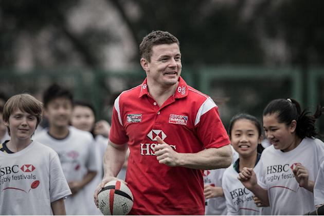 Brian O'Driscoll supervises a coaching session with schoolchildren to promote the Rugby Sevens tournament in Hong Kong, on March 26, 2015