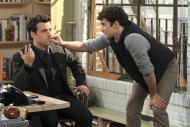 """This undated image released by CBS shows David Krumholtz, left, as Joe, a newly-engaged, accomplished architect and Michael Urie , who stars as Louis, Joe's gay co- worker and best friend in a scene from """"Partners,"""" a comedy premiering Monday, Sept. 24, at 8:30 p.m. EST on CBS. (AP Photo/CBS, Matt Kennedy)"""