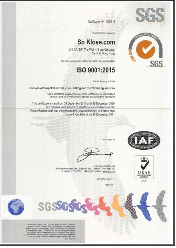So Klose has achieved ISO 9001:2008 standard certification since 2011 and recently it received new ISO 9001:2015 re-certification with zero non-conformities.
