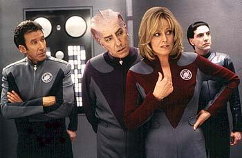 Tim Allen , Alan Rickman and Sigourney Weaver with a 'Thermian' in Dreamworks' Galaxy Quest