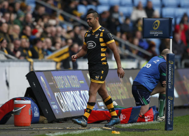 Wasps' Kurtley Beale walks off the pitch after he is shown a yellow card