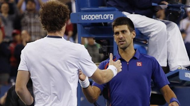 Andy Murray (L) shakes hands with Novak Djokovic after defeating him in the US Open final (Reuters)