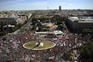 People take part in a demonstration against government austerity measures in Madrid. Over 1,000 buses had ferried people to the Spanish capital for the protest, which was organised by Spain's two leading trade unions, the CCOO and the UGT, along with roughly 150 smaller organisations