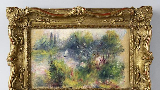 """This image released by Potomack Company shows an apparently original painting by French impressionist Pierre-Auguste Renoir that was acquired by a woman from Virginia who stopped at a flea market in West Virginia and paid $7 for a box of trinkets that included the painting. An anonymous woman who claimed to have found a Renoir painting at a flea market has been unmasked in court papers as she fights to retain it. It turned out the painting was stolen from the Baltimore Museum of Art in 1951. When a theft report was found in September, the FBI seized the painting. Now a federal judge in Alexandria will determine who owns it. The Washington Post reports the woman who called herself """"Renoir Girl"""" is Marcia """"Martha"""" Fuqua of Lovettsville, Va., a former physical education teacher. (AP Photo/Potomack Company)"""