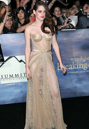 Kristen Stewart Shows Off Her Butt In See-Through Gold Gown At Twilight Premiere