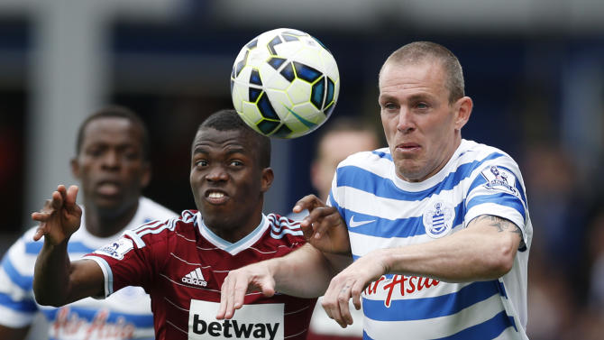 Football: West Ham's Enner Valencia in action with QPR's Richard Dunne