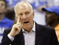 San Antonio Spurs head coach Gregg Popovich gestures during the first half against the Oklahoma City Thunder in Game 4 of the NBA basketball playoffs Western Conference finals, Saturday, June 2, 2012, in Oklahoma City. (AP Photo/Sue Ogrocki)