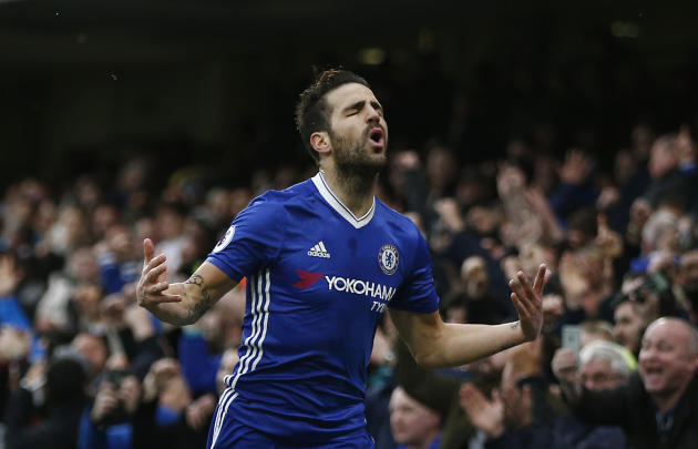 Chelsea's Cesc Fabregas celebrates scoring their first goal
