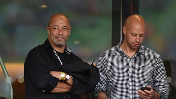 Paul McGrath in the stands before the match